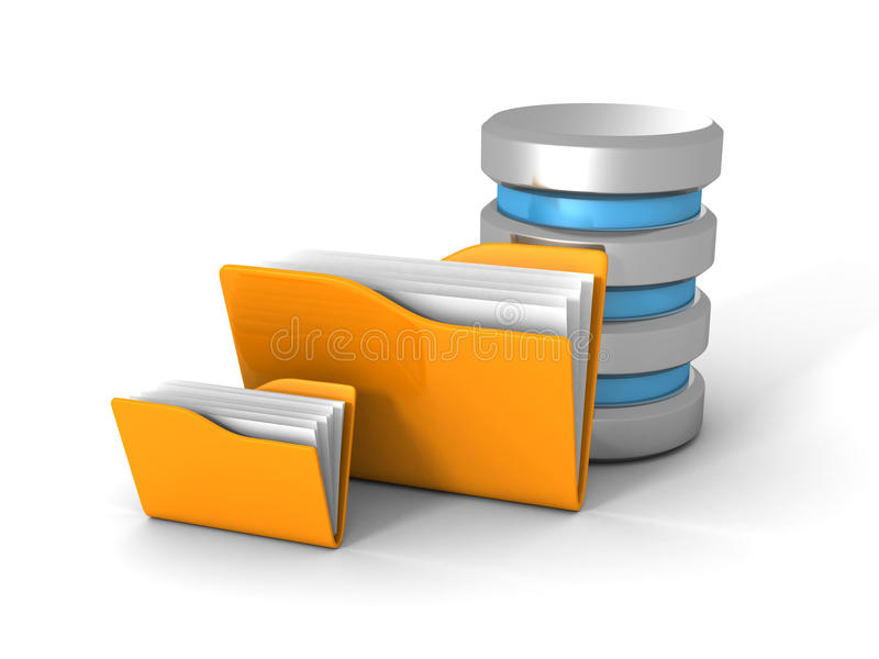 База данных компьютера с желтой папкой документа офиса стоковые изображения