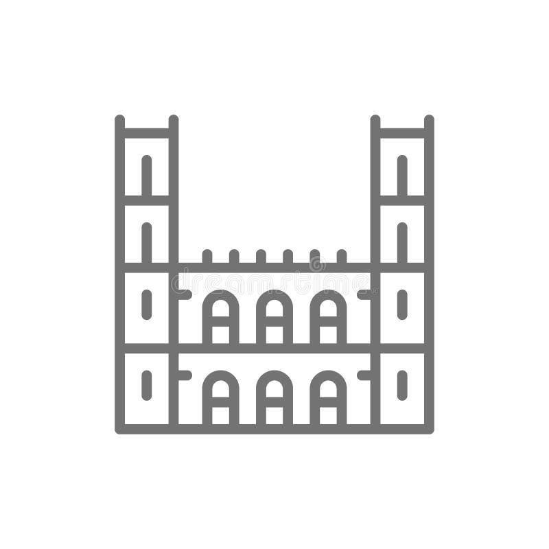 Базилика Нотр-Дам, линия значок Монреаля иллюстрация вектора