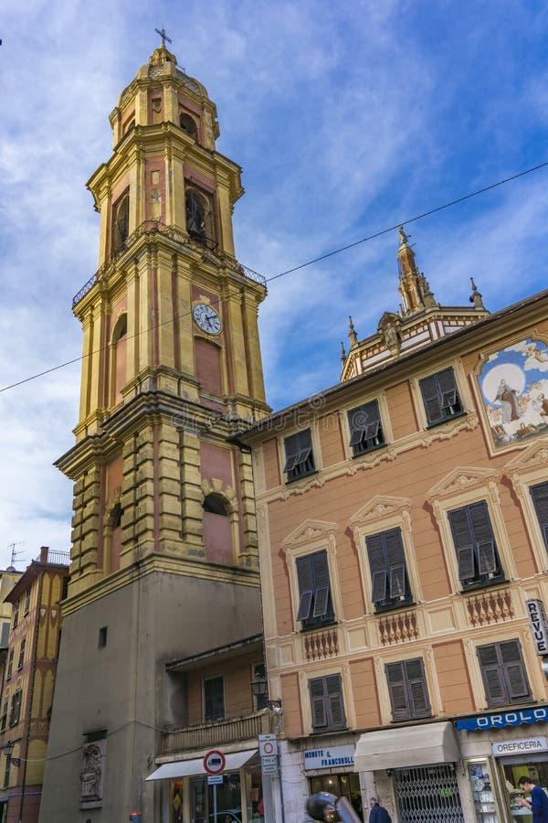 Базилика Сан Gervasio e Protasio в Rapallo, Италии стоковые изображения