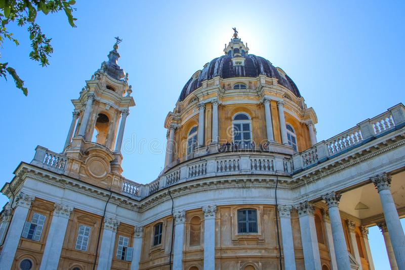 Базилика di Superga, барочная церковь на холмах Турина Турина, Италия, Европа стоковое изображение