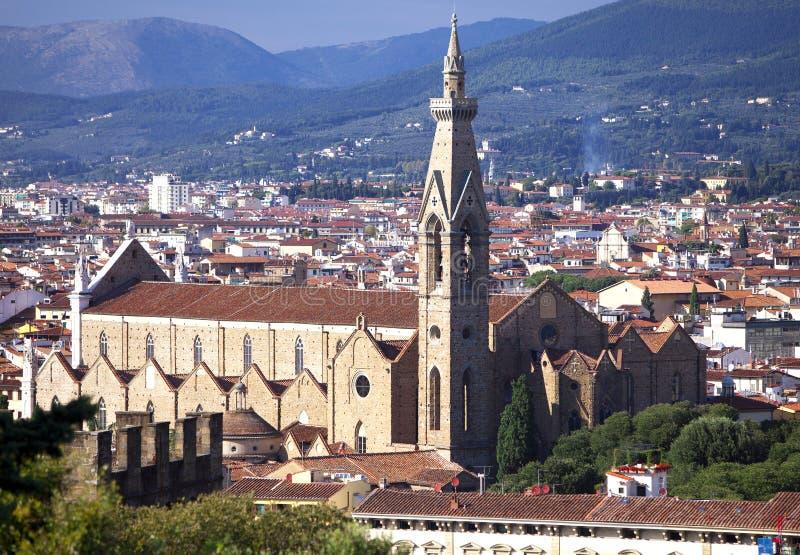 Базилика Santa Croce di базилики святого креста, главной францисканской церков в Флоренсе, Италии стоковые фото