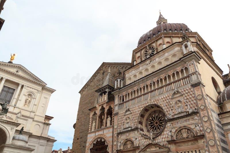 Базилика Santa Maria Maggiore церков и собор Бергама в Citta Alta стоковые изображения rf