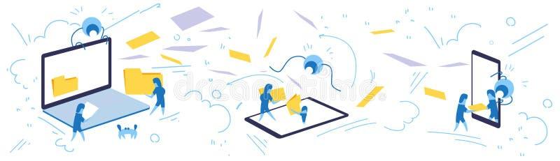 Базы данных концепции данным по конфиденциальности данных синхронизации папки владением бизнесмена doodle эскиза знамени онлайн г иллюстрация штока
