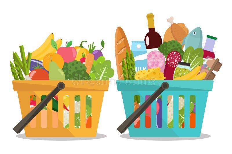 Бакалея в корзине для товаров и овощах и плодоовощах в корзине иллюстрация вектора