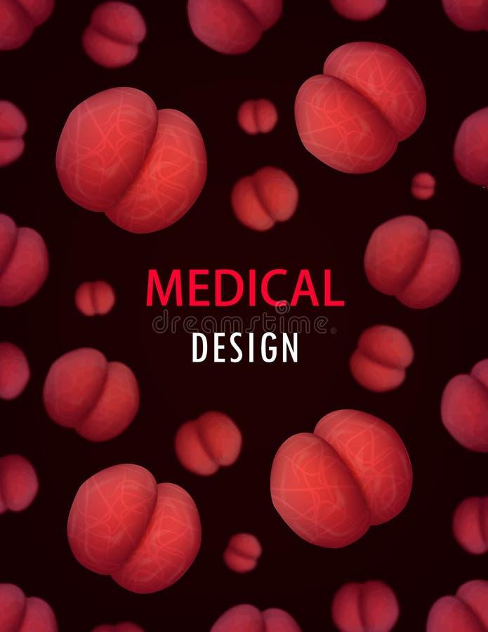 Бактерии, вирусы покрывают инфекцию биологии брошюры дизайна вектора предпосылки иллюстрация штока