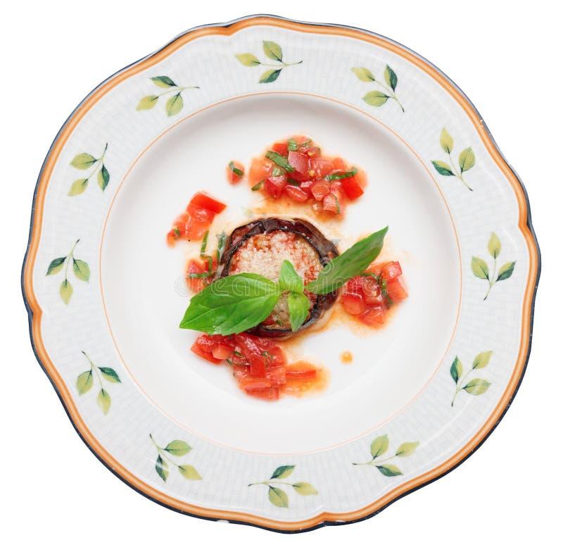 Баклажан с сыром и томатом стоковые изображения rf