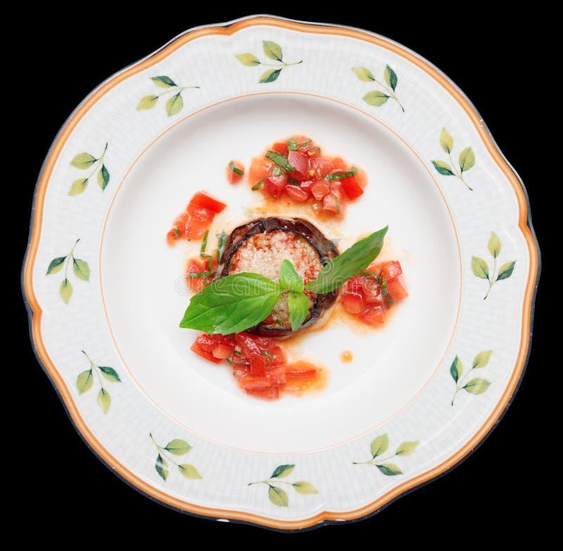 Баклажан с сыром и томатом стоковое изображение