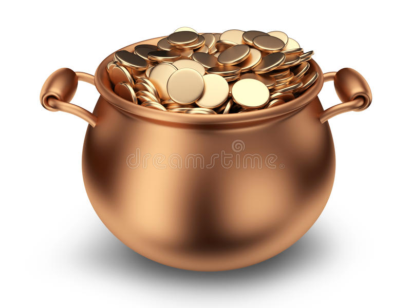 Бак золотистых монеток. Традиционный праздник. икона 3D бесплатная иллюстрация