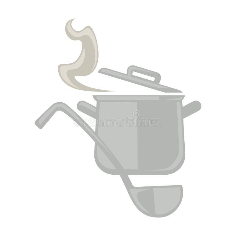 Бак металла и ложка сервировки бесплатная иллюстрация