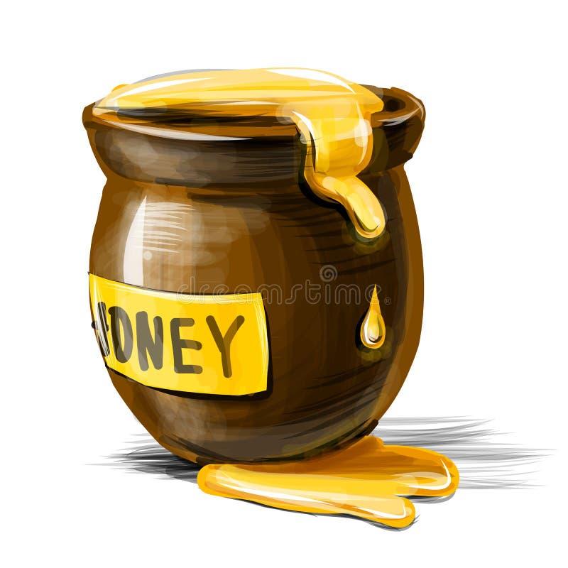 Download Бак меда изолированный на белой предпосылке Иллюстрация вектора - иллюстрации насчитывающей травяной, мед: 40583617