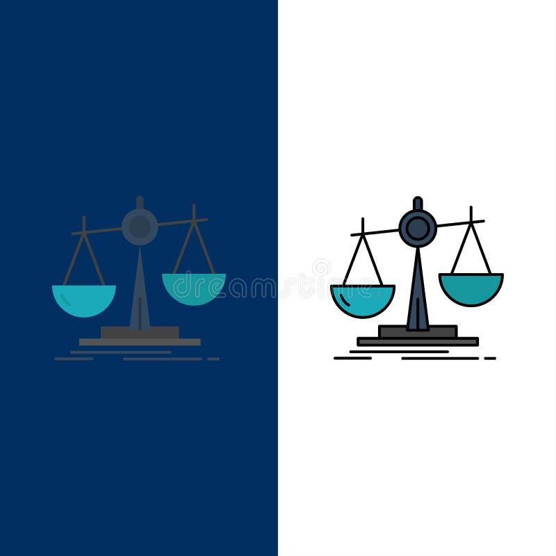 Баланс, закон, потеря, выгода, значки Квартира и линия заполненный значок установили предпосылку вектора голубую иллюстрация штока