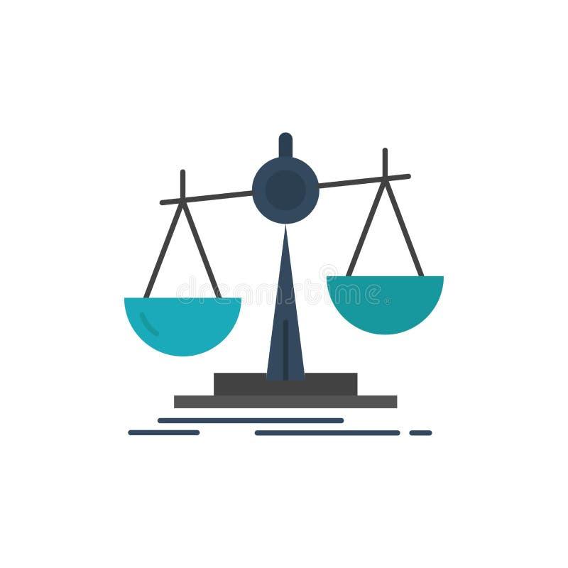 Баланс, закон, потеря, выгода, плоский значок цвета Шаблон знамени значка вектора иллюстрация вектора