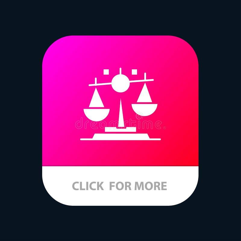 Баланс, закон, правосудие, кнопка приложения финансов мобильная Андроид и глиф IOS версия бесплатная иллюстрация