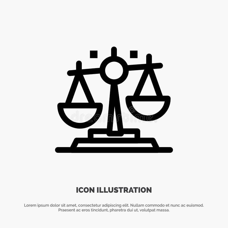 Баланс, закон, правосудие, линия вектор финансов значка иллюстрация штока