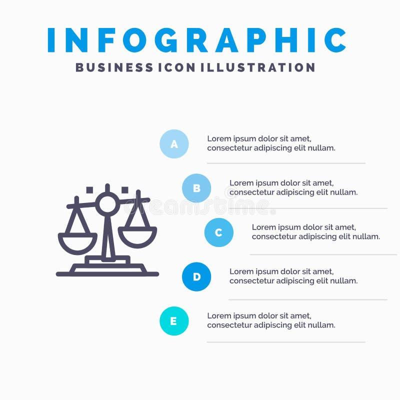 Баланс, закон, правосудие, линия значок финансов с предпосылкой infographics представления 5 шагов иллюстрация штока