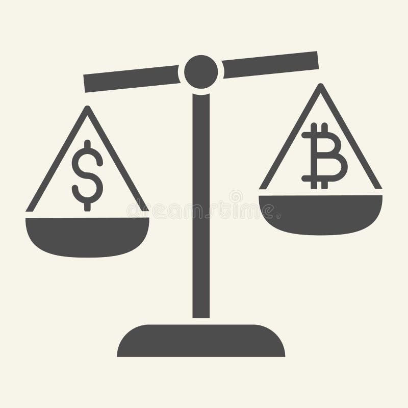 Баланс значка денег и cryptocurrency твердого Bitcoin и доллар на иллюстрации вектора масштабов изолированной на белизне иллюстрация вектора