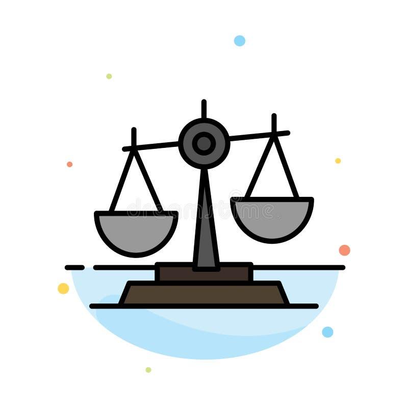 Баланс, суд, судья, правосудие, закон, законный, масштаб, масштабирует абстрактный плоский шаблон значка цвета иллюстрация штока