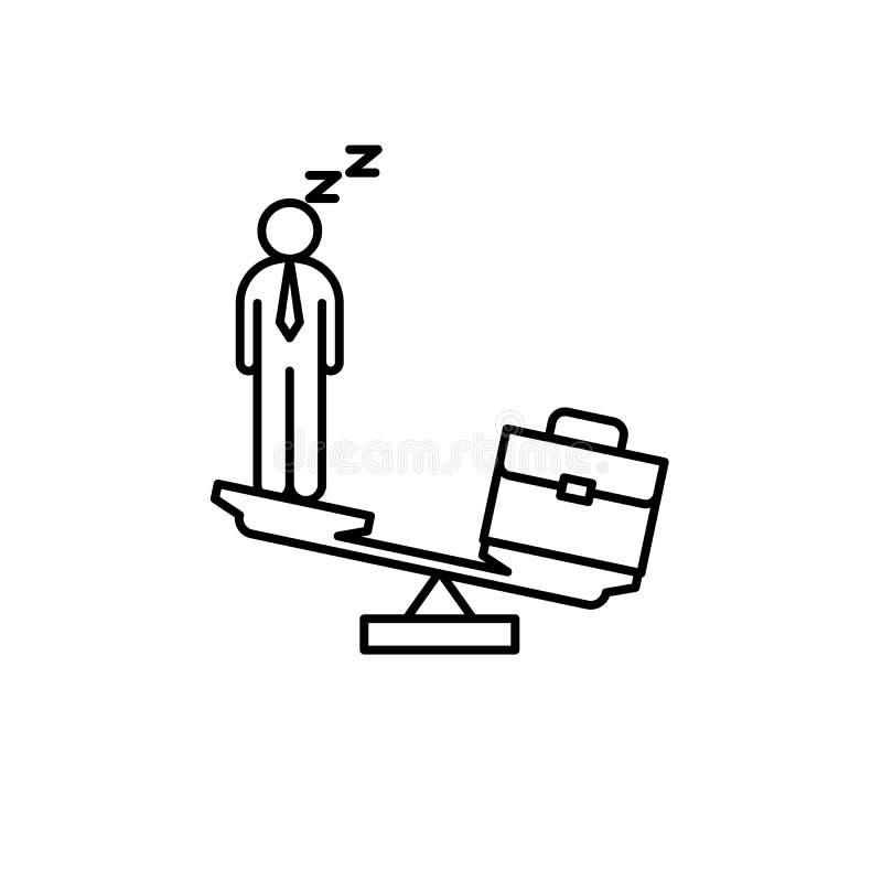 Баланс, человек, сумка, значок масштабов Элемент линии значка концентрации иллюстрация штока
