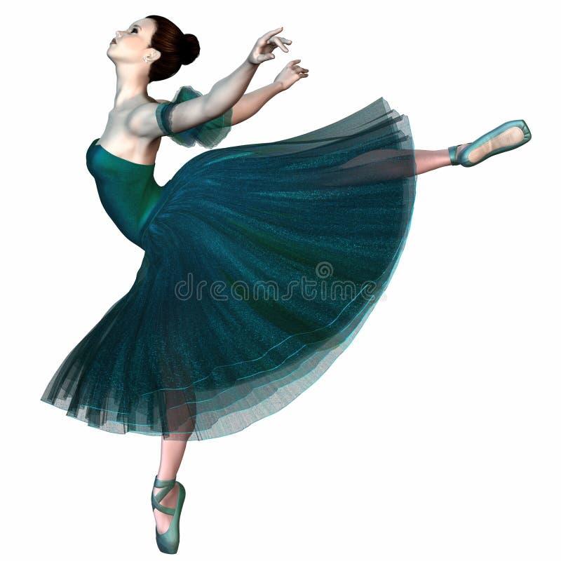 Балерина в зеленом цвете - балансирующ иллюстрация штока
