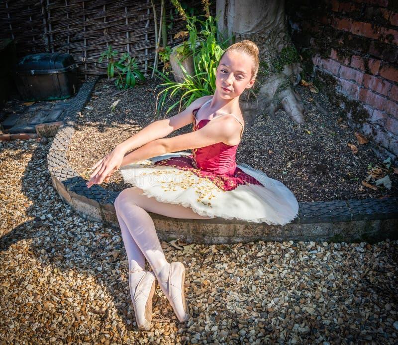 Балерина в саде стоковое фото rf