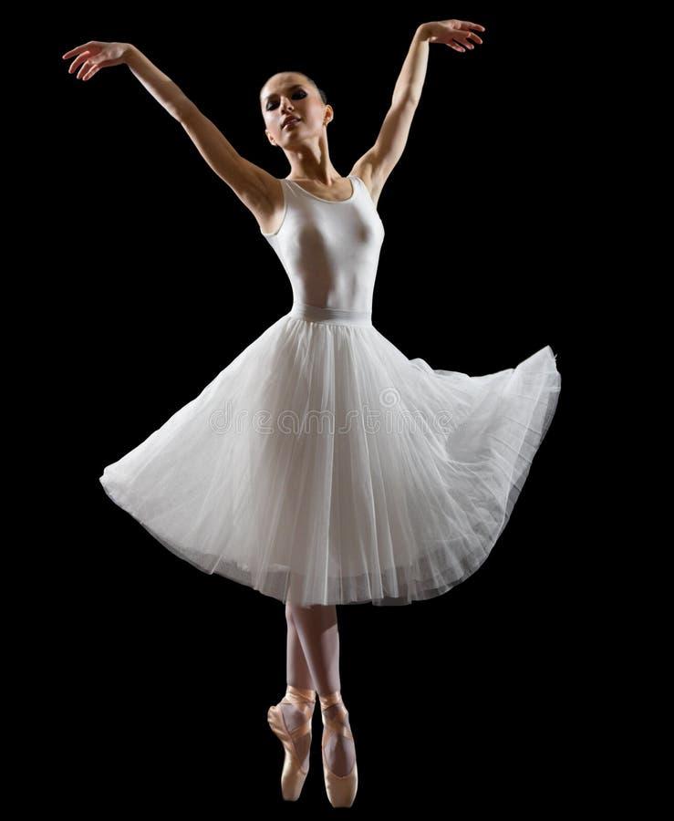 Балерина изолированная на черной версии стоковое фото