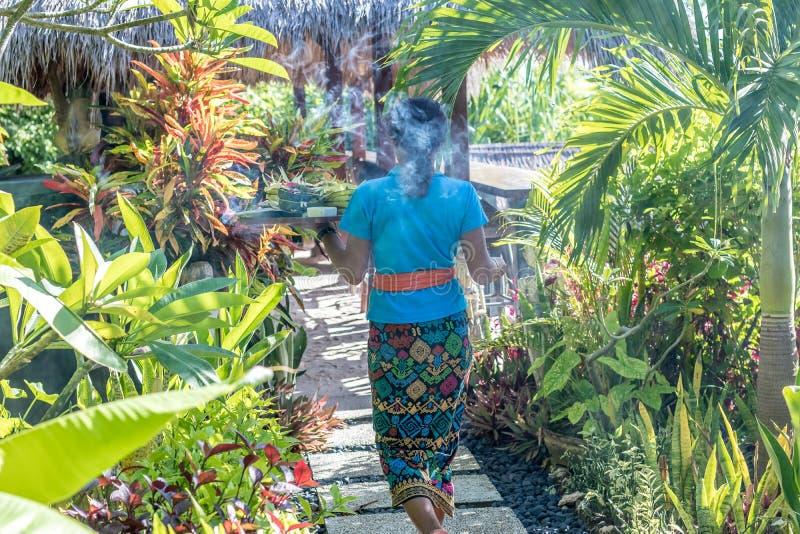 БАЛИ, ИНДОНЕЗИЯ - 21-ОЕ ЯНВАРЯ 2017: Балийские женщины в традиционном kebaya батика идя с предлагать в тропическом стоковое изображение