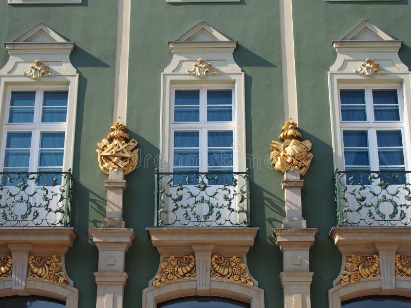 Балконы загса Szczecin, Польши стоковые фото