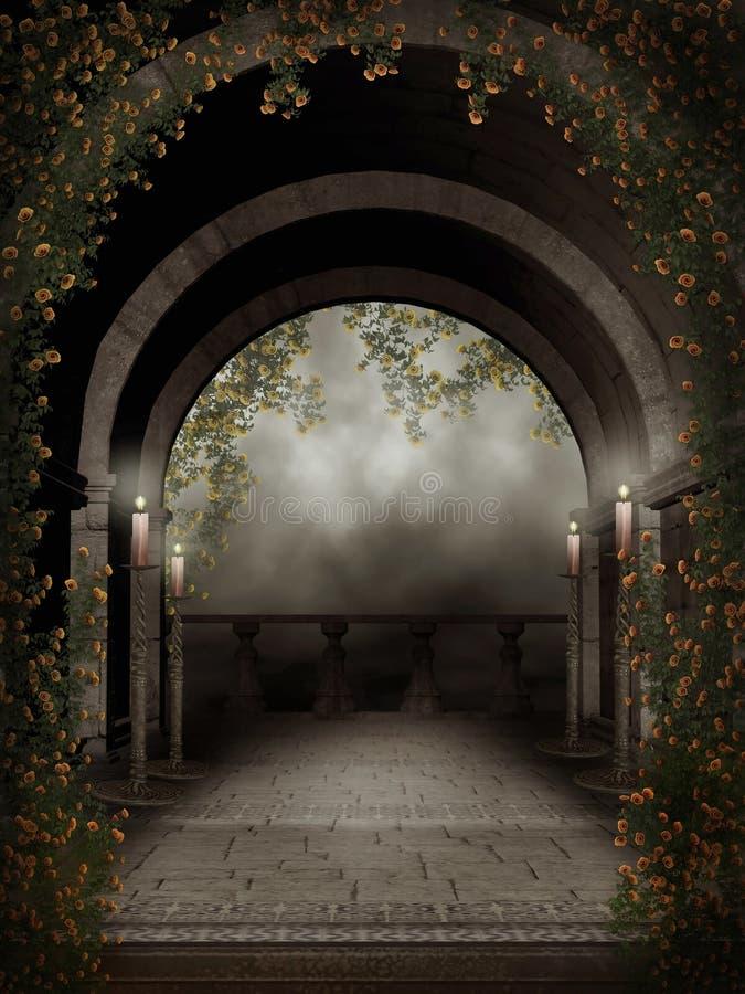 балкон миражирует темноту иллюстрация вектора