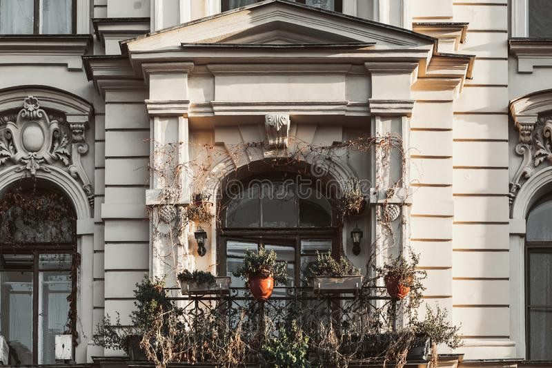 Балькония старого дома Прекрасный балкон с растениями на барокко стоковое фото