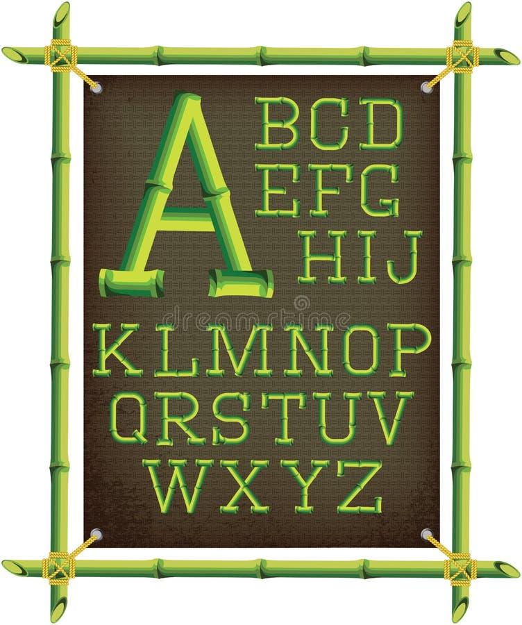 Бамбуковая рамка с холстом и алфавитом иллюстрация вектора