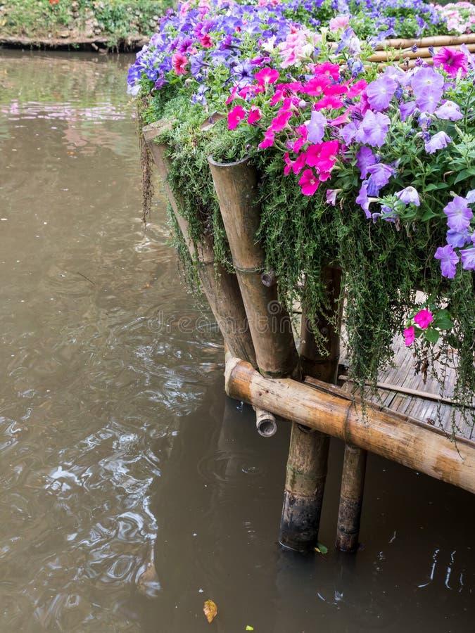 Бамбуковая терраса со строкой цветка стоковые изображения rf