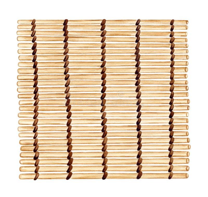 Бамбуковая циновка суш, рука акварели painten иллюстрация деревянного иллюстрация штока