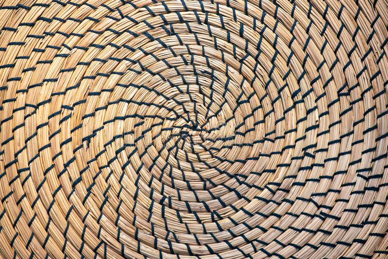 Бамбуковая циновка таблицы или круглый крупный план текстуры placemat r стоковое изображение