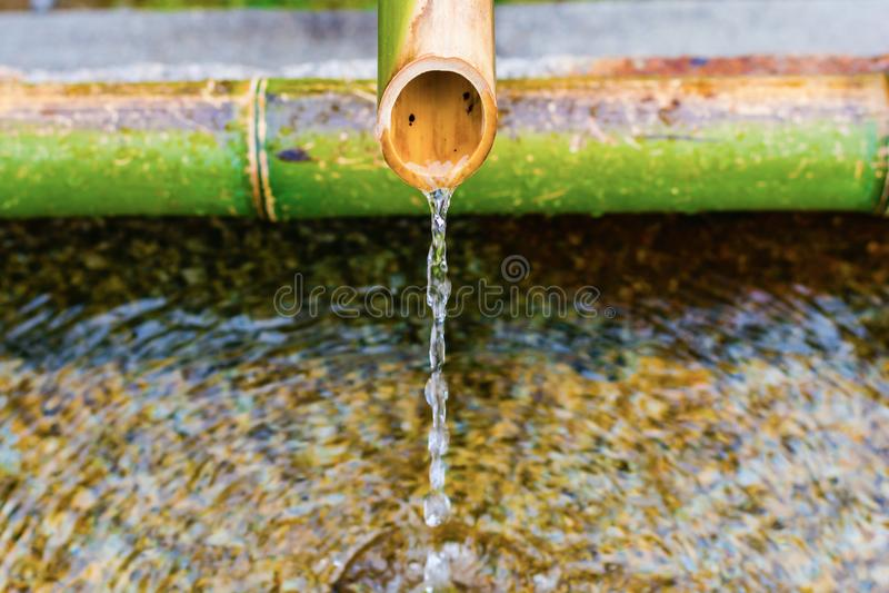 Бамбуковый faucet, водопроводный кран в виске Дзэн, Киото Японии стоковая фотография rf