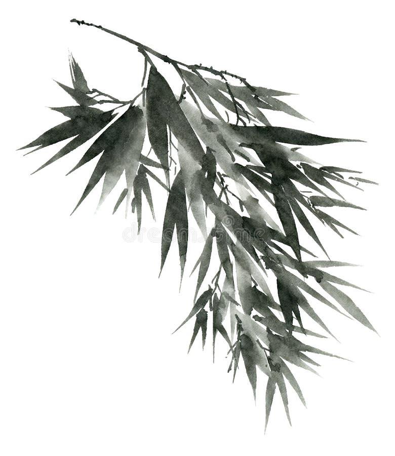 Бамбук акварели выходит ветвь стоковое изображение rf