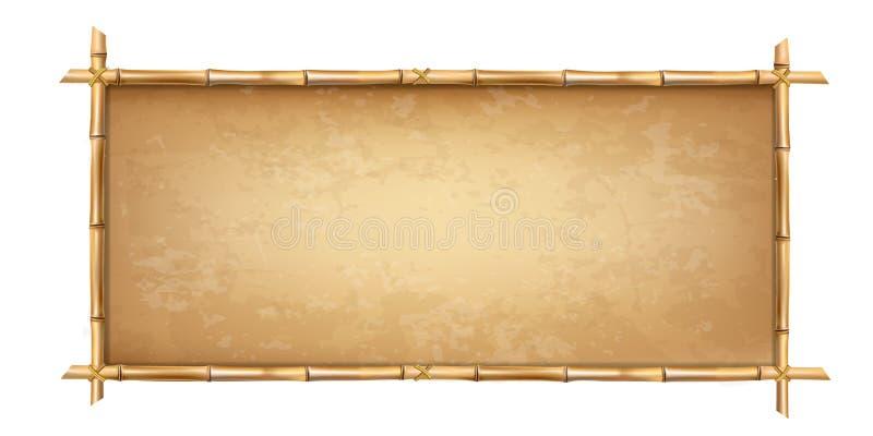 Бамбук Брайна вставляет рамку с старой предпосылкой пергамента иллюстрация вектора