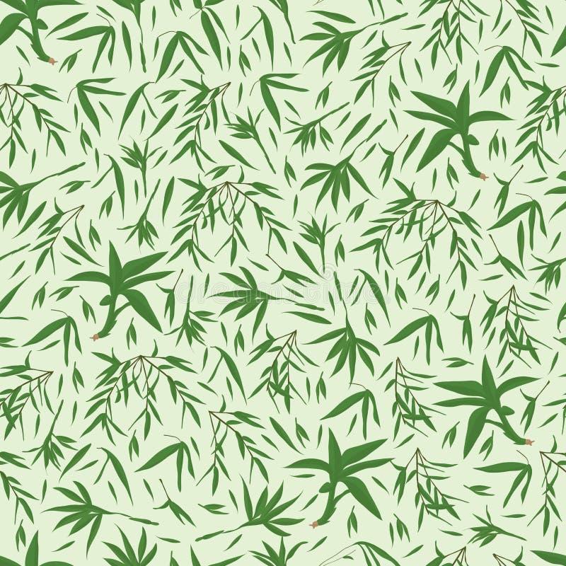 Бамбук выходит зеленая безшовная картина иллюстрация вектора