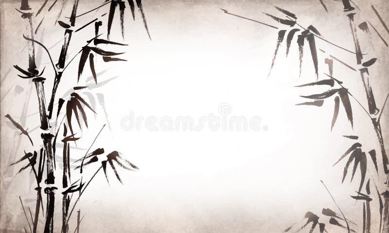 Бамбук покрашенный на предпосылке текстурного grunge горизонтальной вектор иллюстрация штока