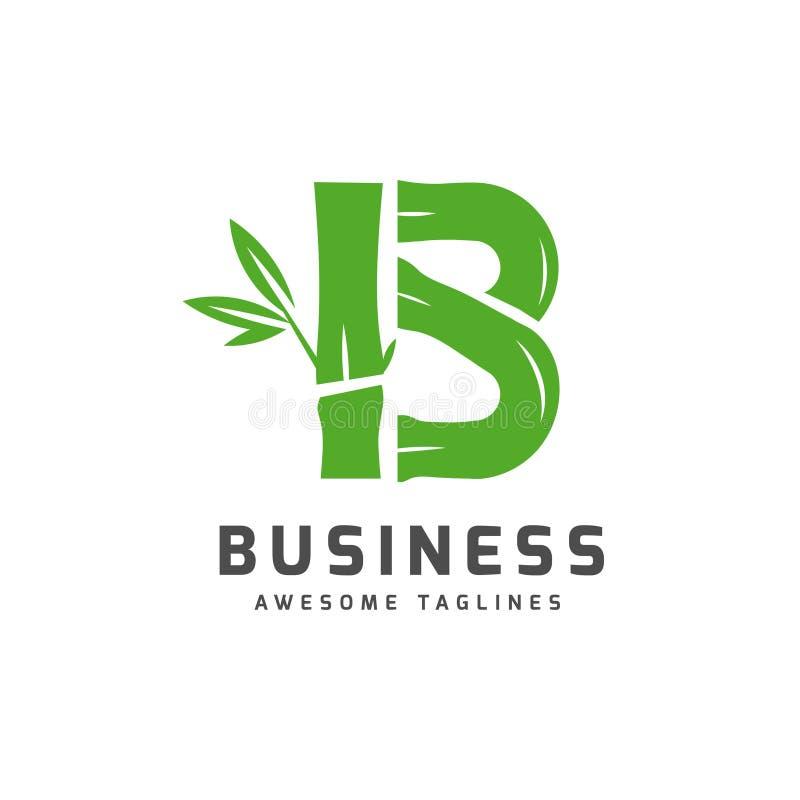 Бамбук с логотипом b начального письма иллюстрация штока