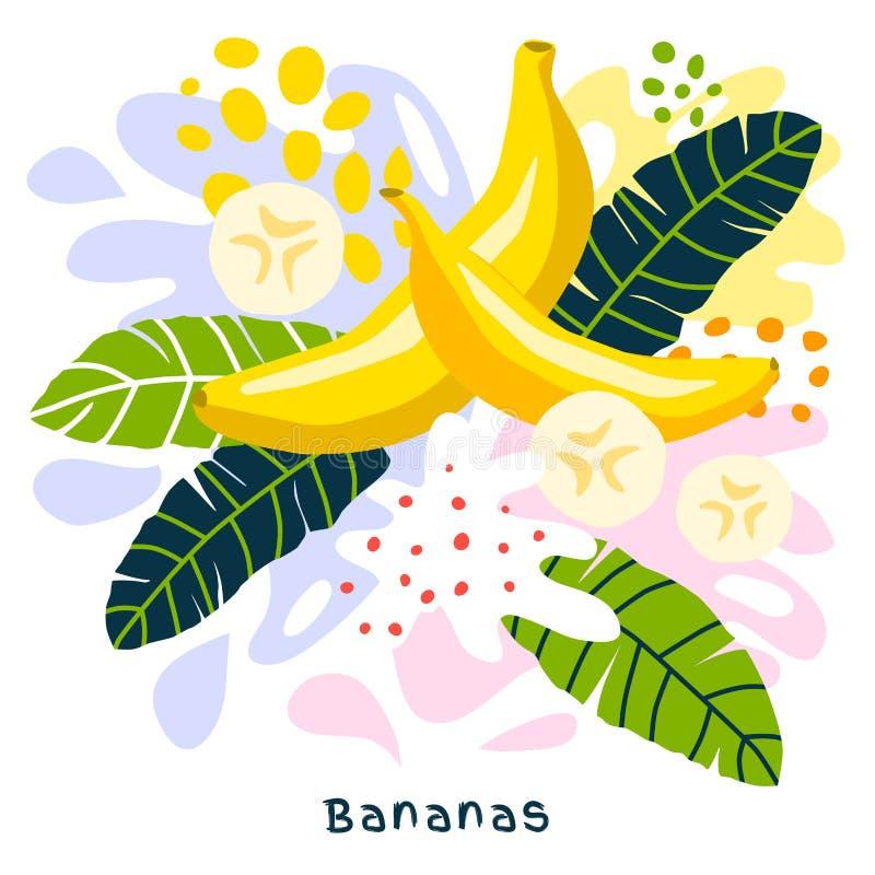 Бананы натуральных продуктов выплеска фруктового сока свежего банана тропические зрелые сочные splatter на абстрактной предпосылк бесплатная иллюстрация