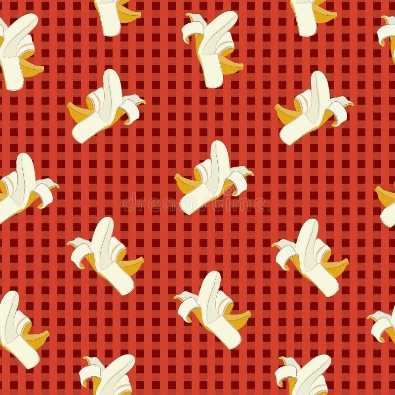 Бананы на красной предпосылке шотландки иллюстрация вектора
