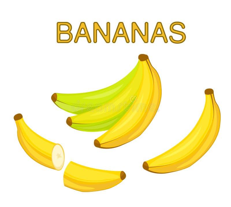 Бананы шаржа в пуке и отделяются Банан отрезанный в половине бесплатная иллюстрация