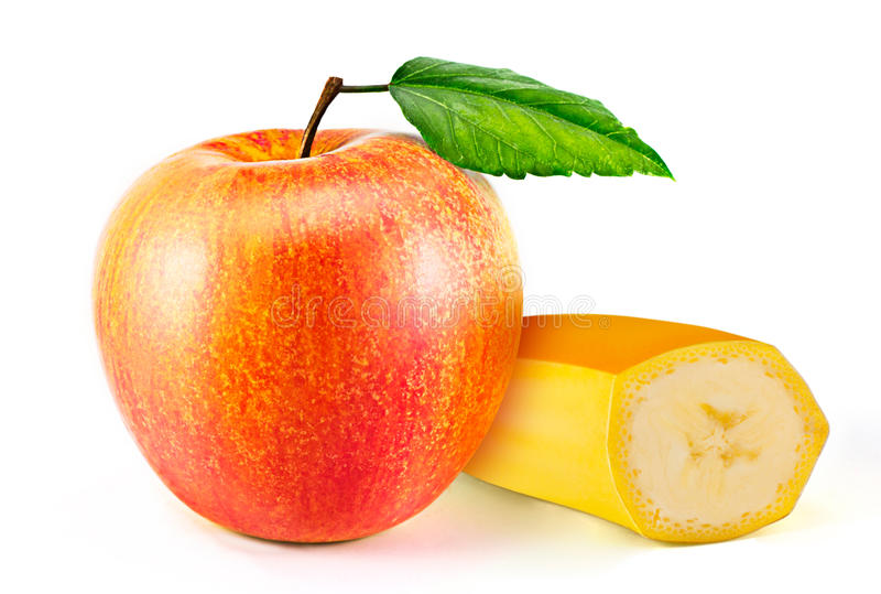 Банан и яблоко изолированные на белой предпосылке стоковое фото rf