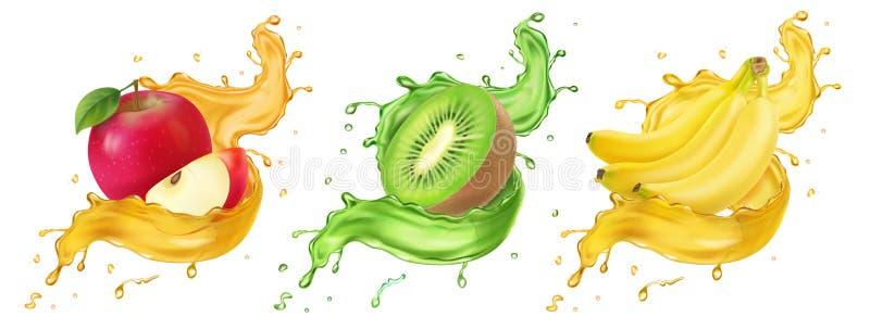 Банан, киви и фруктовый сок яблока брызгают реалистический набор значка вектора иллюстрация штока
