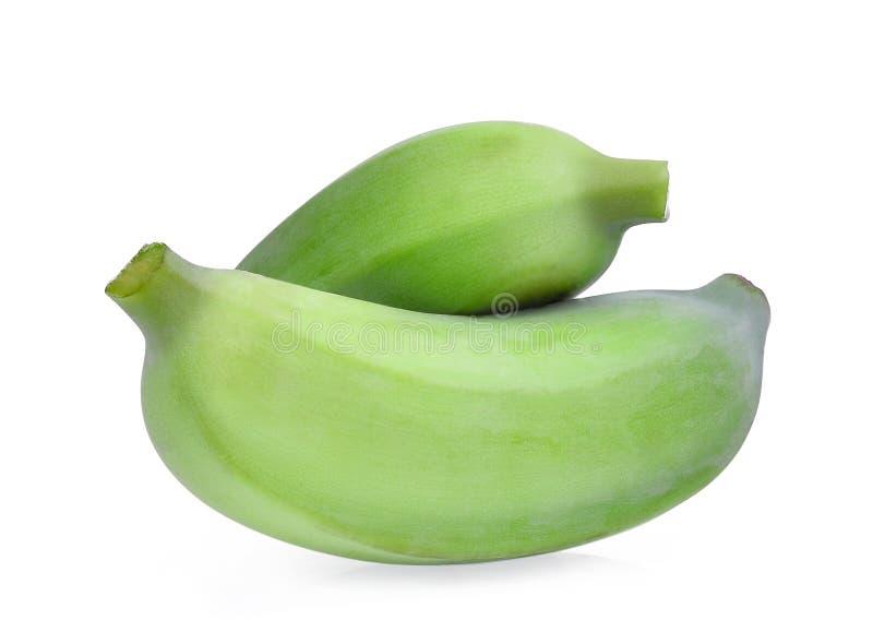 Банан культивируемый зеленым цветом изолированный на белизне стоковые фотографии rf