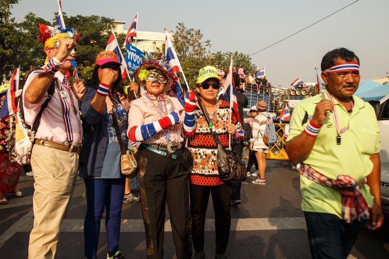 БАНГКОК - 9-ОЕ ЯНВАРЯ 2014: Протестующие против rall правительства стоковое фото rf