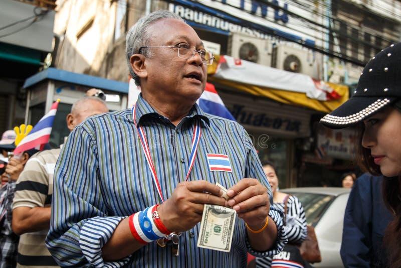 БАНГКОК - 9-ОЕ ЯНВАРЯ 2014: Suthep, руководитель анти- правительства стоковое фото