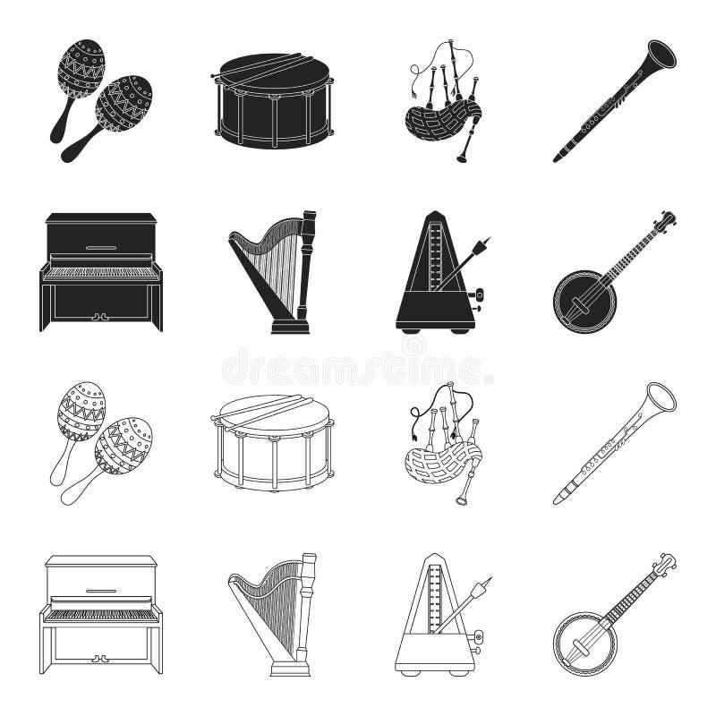 Банджо, рояль, арфа, метроном Значки установленные музыкальными инструментами собрания в черноте, запас символа вектора стиля пла бесплатная иллюстрация