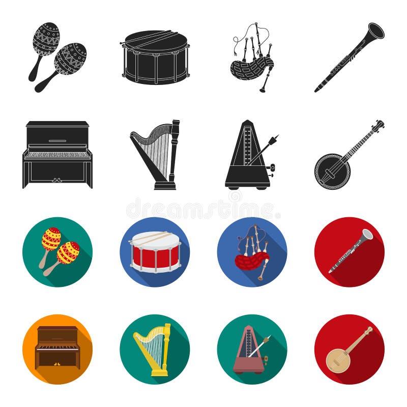 Банджо, рояль, арфа, метроном Значки установленные музыкальными инструментами собрания в черноте, запас символа вектора стиля fle иллюстрация вектора