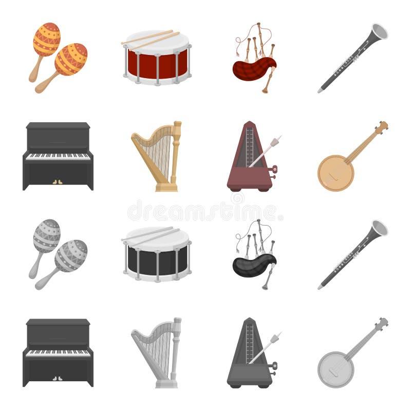 Банджо, рояль, арфа, метроном Музыкальные инструменты установили значки собрания в шарже, monochrome запасе символа вектора стиля иллюстрация вектора